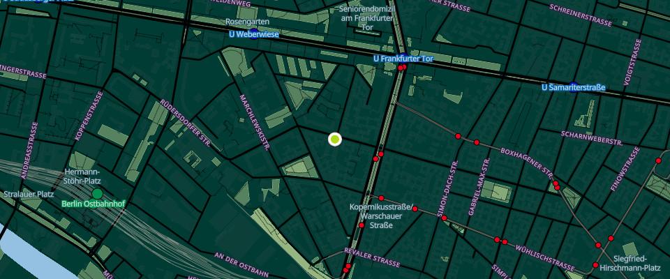 Karte die den xHain anzeigt in der Grünberger Str. 16, Berlin
